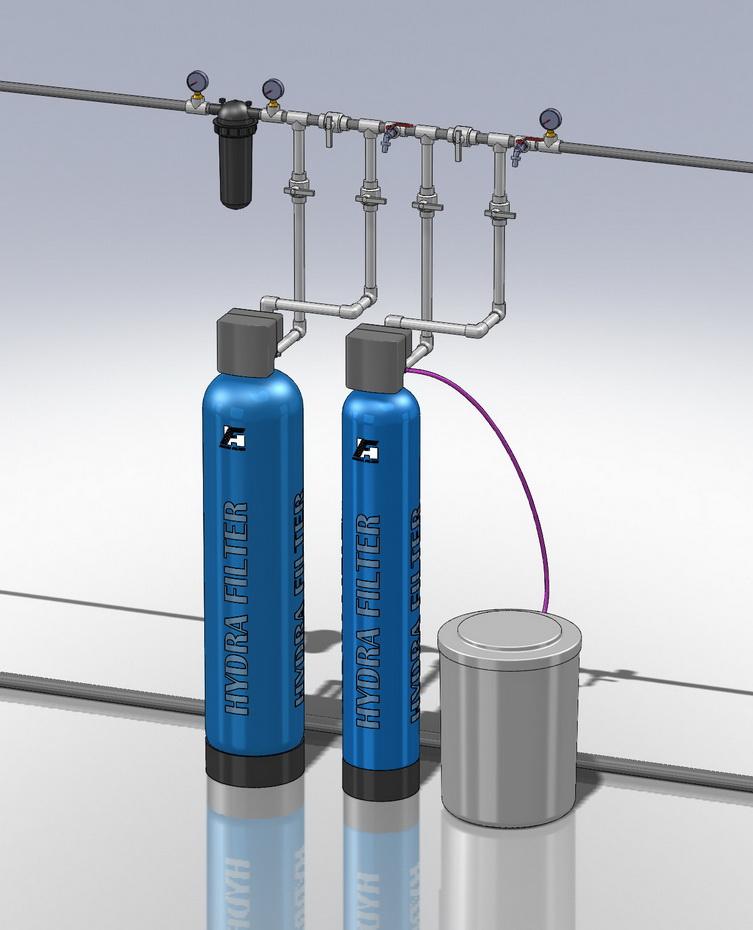 Водоподготовка для коттеджа  #16. 1100 л/час (2-3 открытых крана) Растворенное железо до 5 мг/л, жесткость до 10